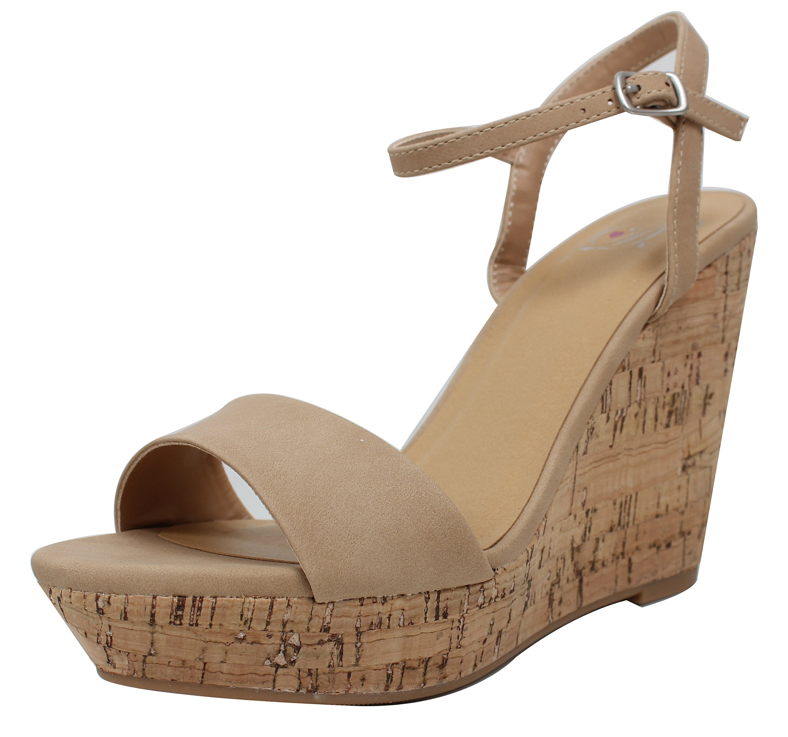 Delicious Women's Open Toe Ankle Strap Cork Platform Wedge (Natural, 8.5 B(M) US)
