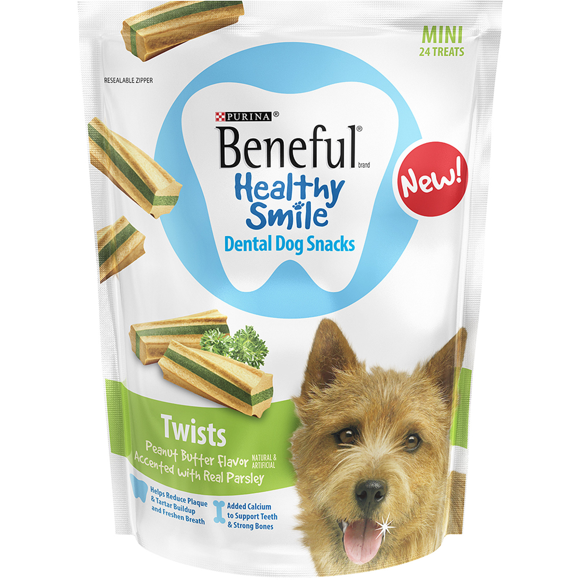 Purina Beneful Healthy Smile Dental Dog Treats Adult Mini Twists 8.4 oz. Pouch