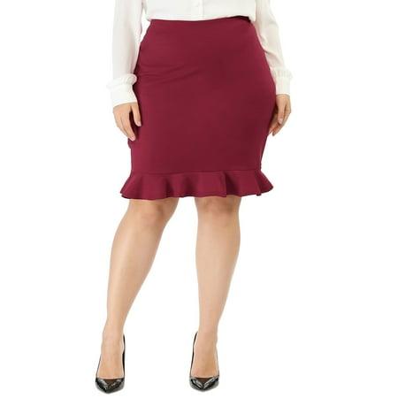 Zip Pencil Skirt - Women's Plus Size Ruffle Hem Zip Closure Mini Pencil Skirt Red