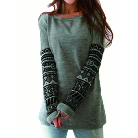 Womens Xmas Casual T Shirt Pullover Sweater Long Sleeve Loose Tops Blouse Tee