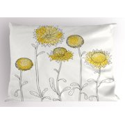 Yellow Flower Pillow Sham Hand Drawn Style Sunflowers on Twigs Petals Growth Botany Summertime, Decorative Standard King Size Printed Pillowcase, 36 X 20 Inches, Pale Yellow Black, by Ambesonne