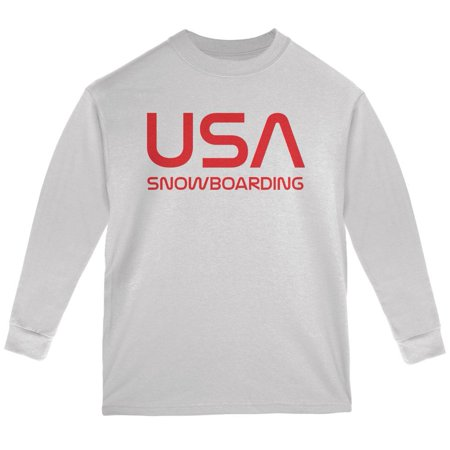 Vintage Team USA Snowboard Snowboarding Youth Long Sleeve T -