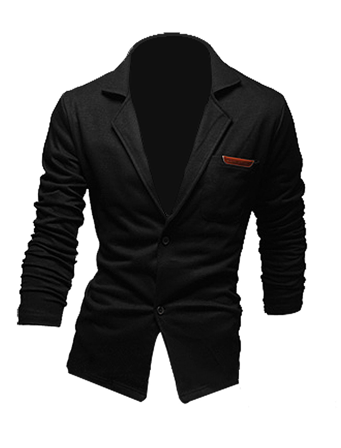 Men Peaked Lapel Single Breasted Chest Pocket Blazer Black M