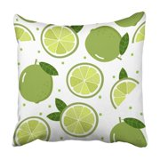 BPBOP Green Citrus Lime Pattern White Food Fresh Fruit Graphic Healthy Juicy Leaf Pillowcase Cover 20x20 inch