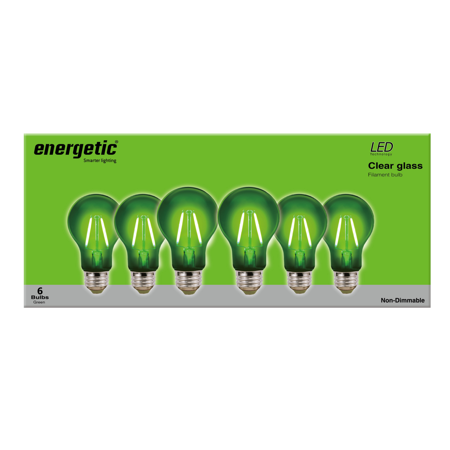 Color Led BaseUl Light Listed6 Count ShapeE26 Bulbs2wGreenA19 Energetic Filament WEI9DH2