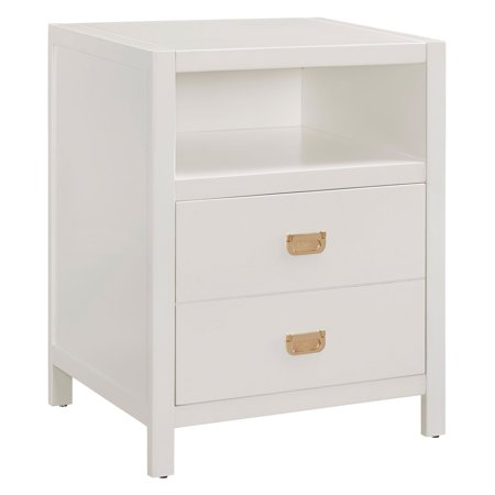 Linon Peggy End Table, 2 drawers and 1 Open Shelf, Multiple Colors