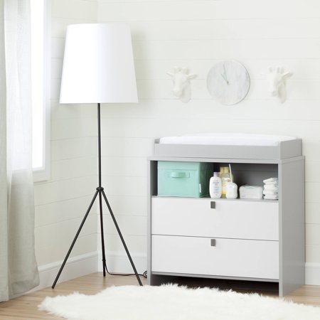 South Shore Cookie Changing Table/Dresser, Soft Gray and (South Shore Savannah Collection Changing Table Pure White)