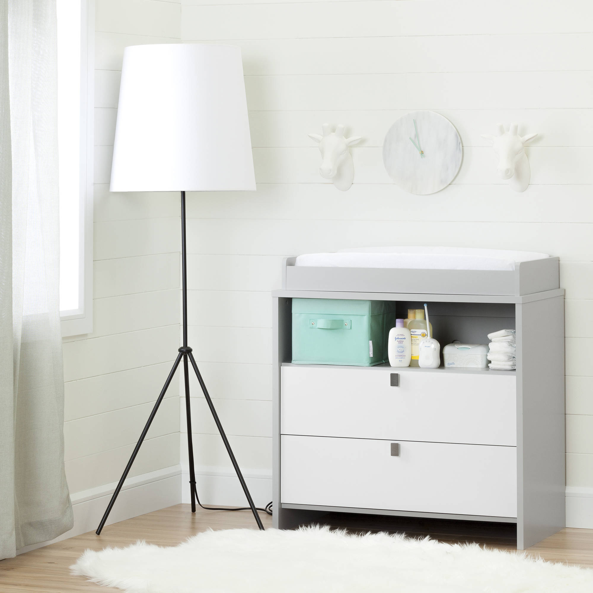 South Shore Cookie Changing Table/Dresser, Soft Gray and White