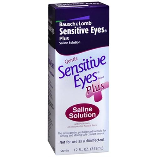 Bausch & Lomb Sensitive Eyes Plus Saline Solution 12 oz (Pack of 2)