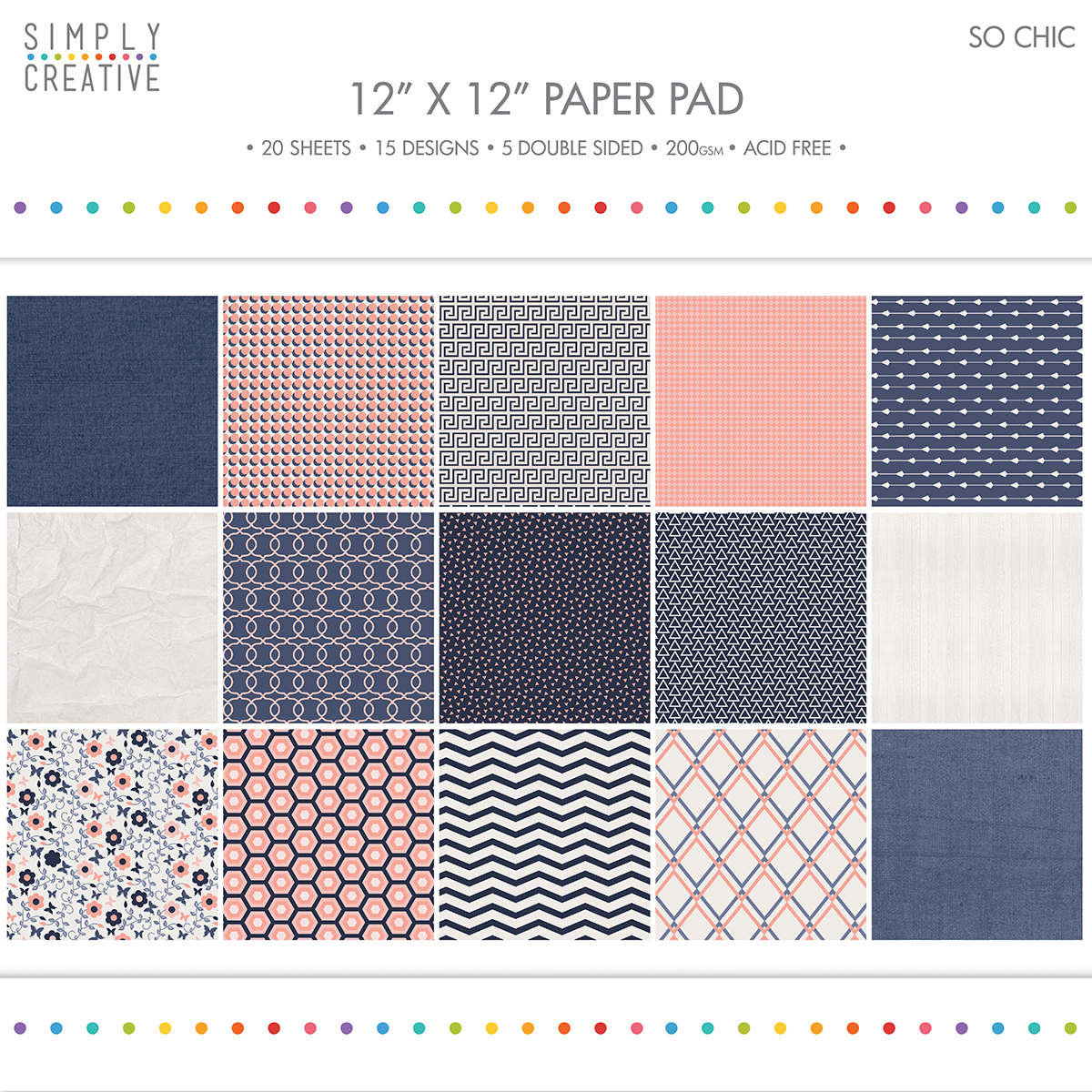 """Simply Creative Paper Pad 12""""X12"""" 20/Pkg-So Chic, 15 Designs/5 Double-Sided"""