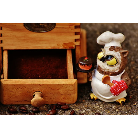 LAMINATED POSTER Baker Owl Muffin Grinder Fig Cake Coffee Poster Print 24 x - Baked Figs