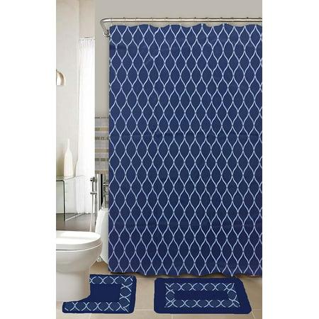 Huda Navy Blue & White 15-Piece Bathroom Accessory Set 2 Bath Mats Shower Curtain &