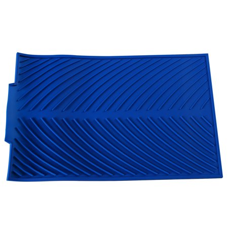 Blue Countertop Silicone Dish Stemware Drying Mat with Edge Drainer