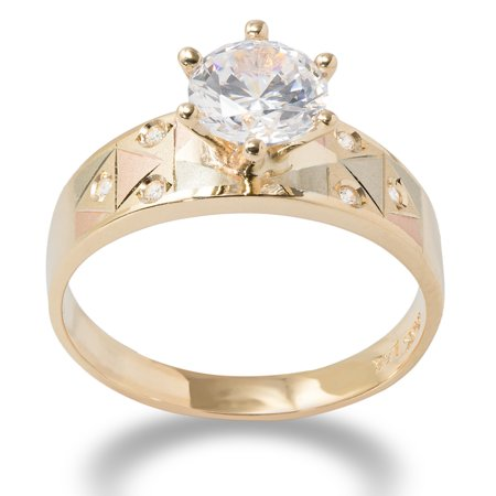 14K Solid Gold 1 Ct. Tri Color gold Solitaire CZ Womens Engagement Ring