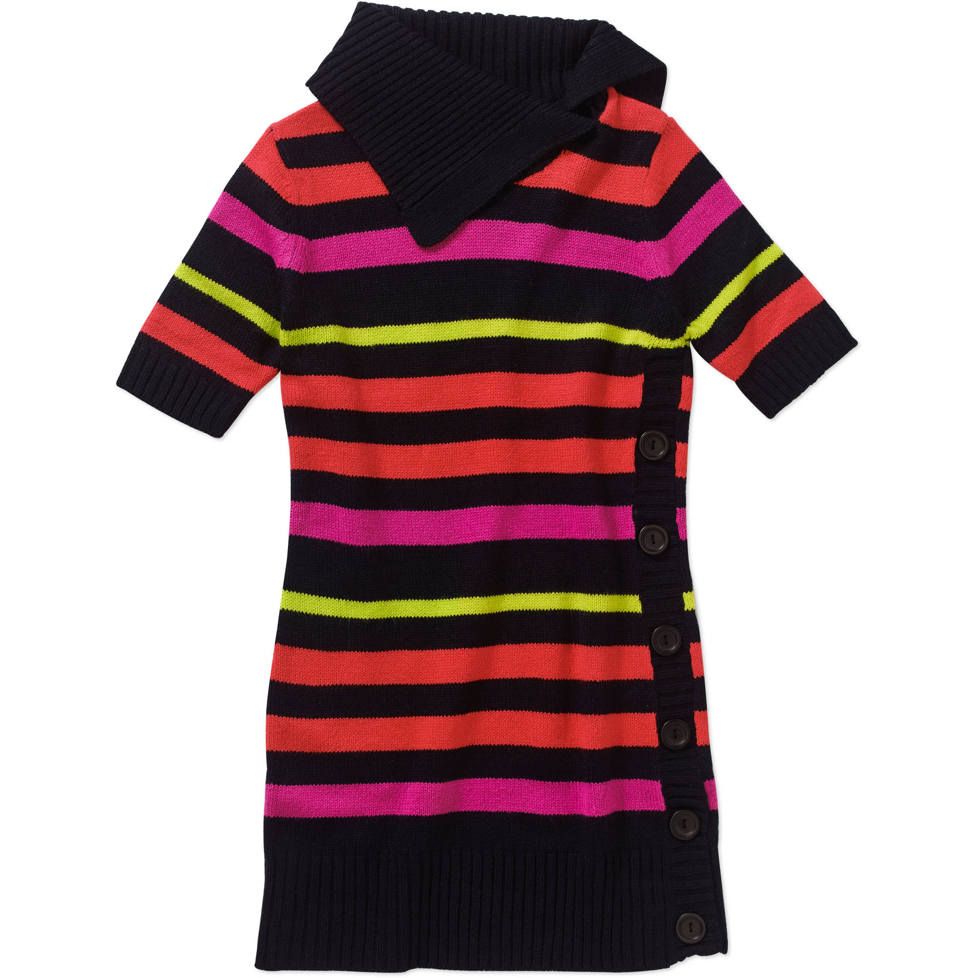 Girls' Stripe Cowl Neck Tunic Sweater with Side Placket