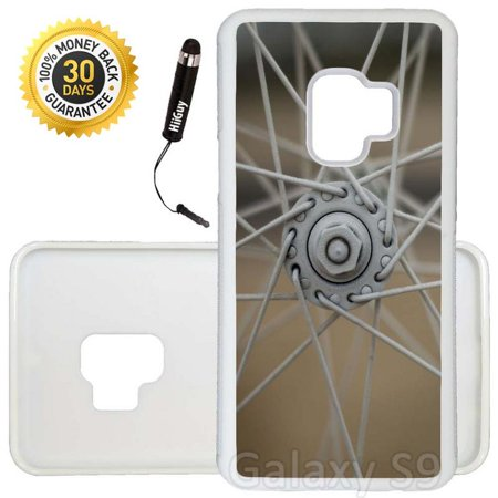Custom Galaxy S9 Case (Bike Wheel Spokes) Edge-to-Edge Rubber White Cover Ultra Slim | Lightweight | Includes Stylus Pen by