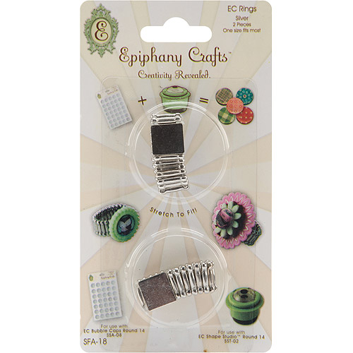 Epiphany Crafts Silver Rings-Round 14, 2/Pkg
