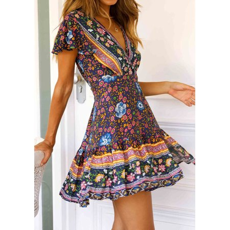 Summer Women Floral Chiffon Short Sleeve Dress V-Neck Bandage Casual Party Boho Short Dresses Dark blue -
