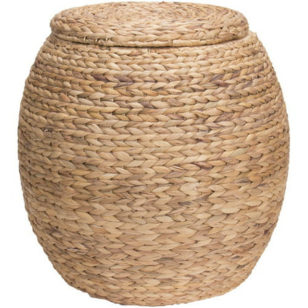 Large Natural Wicker - Household Essentials Large Round Water Hyacinth Wicker Storage Basket with Lid