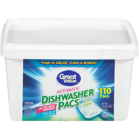 Great Value Automatic Dishwasher Pacs, Fresh Scent, 110 Count (Dishwasher Tabs Natural)