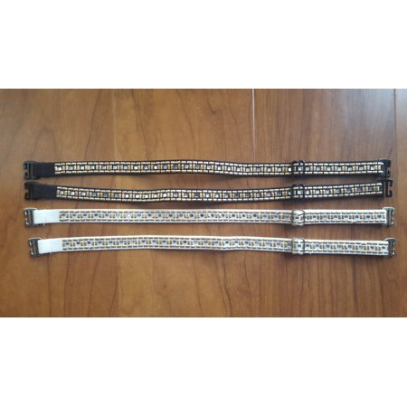 Strap-its Rhinestone And Silver and Gold Nail Black and White Studded Bra Straps