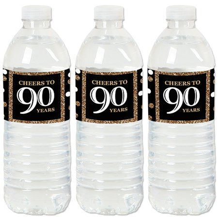 Adult 90th Birthday - Gold - Birthday Party Water Bottle Sticker Labels - Set of 20](90th Birthday Tableware)
