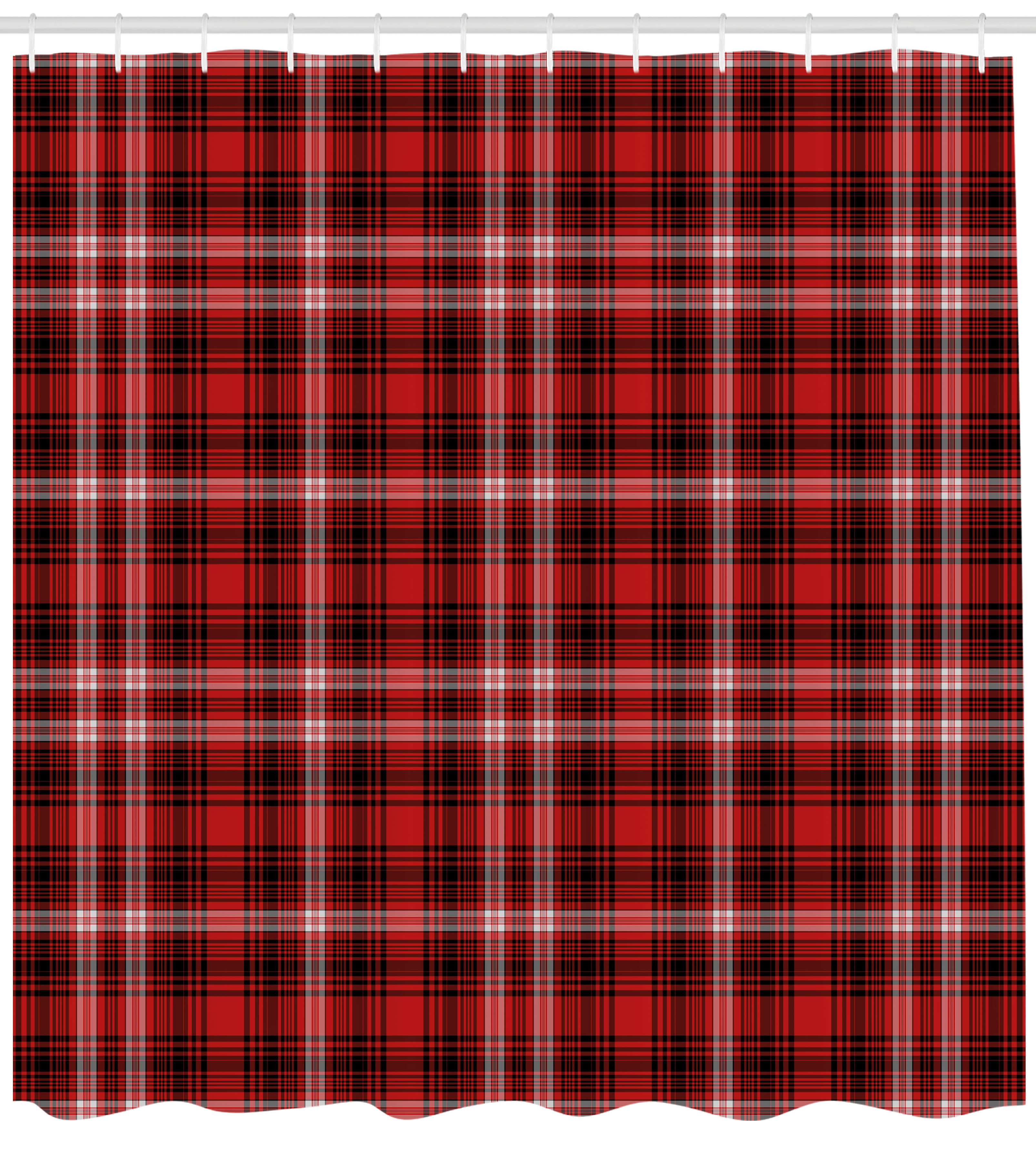 Plaid Shower Curtain Nostalgic Striped Pattern From British Country With Constrasting Colors Fabric Bathroom Set Hooks Scarlet Black White