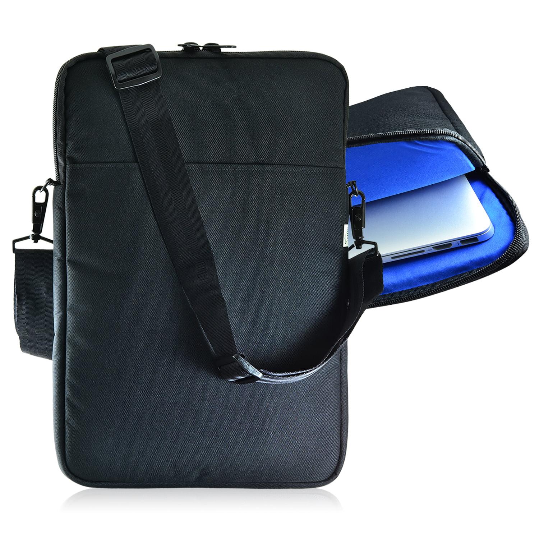 turtleback padded sleeve bag for apple 14in macbook laptop case with adjustable straps black. Black Bedroom Furniture Sets. Home Design Ideas