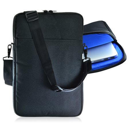 Turtleback Padded Sleeve Bag for Apple 14in Macbook Laptop, Case with Adjustable Straps Black/Blue, Made in USA (Apple Bag)