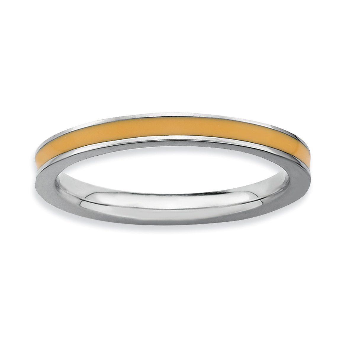 Roy Rose Jewelry Sterling Silver Stackable Expressions Orange Enameled 2.25mm Ring ~ Size 6