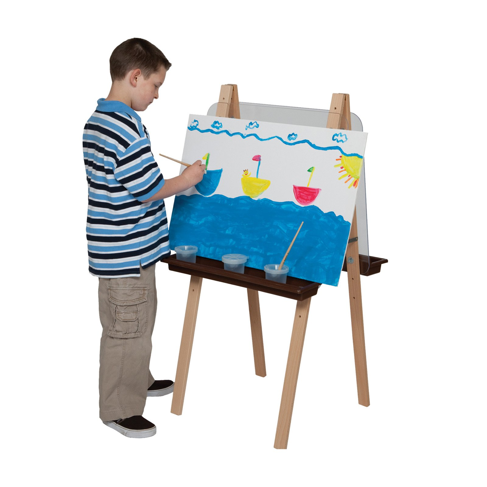 Wood Designs Double Adjustable Easel with Acrylic and Brown Trays