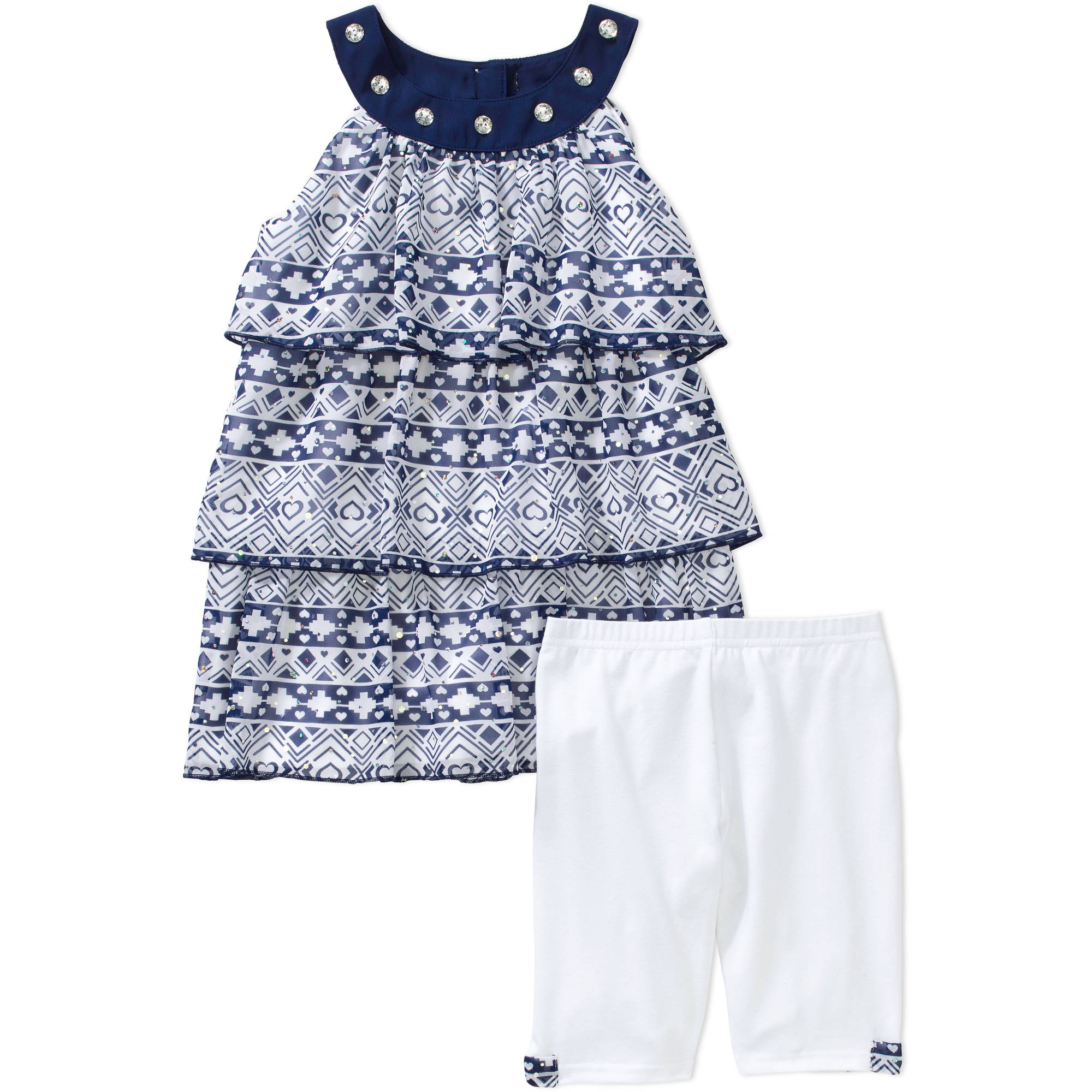 George Girls' Tiered Chiffon Tank and Bike Short Set