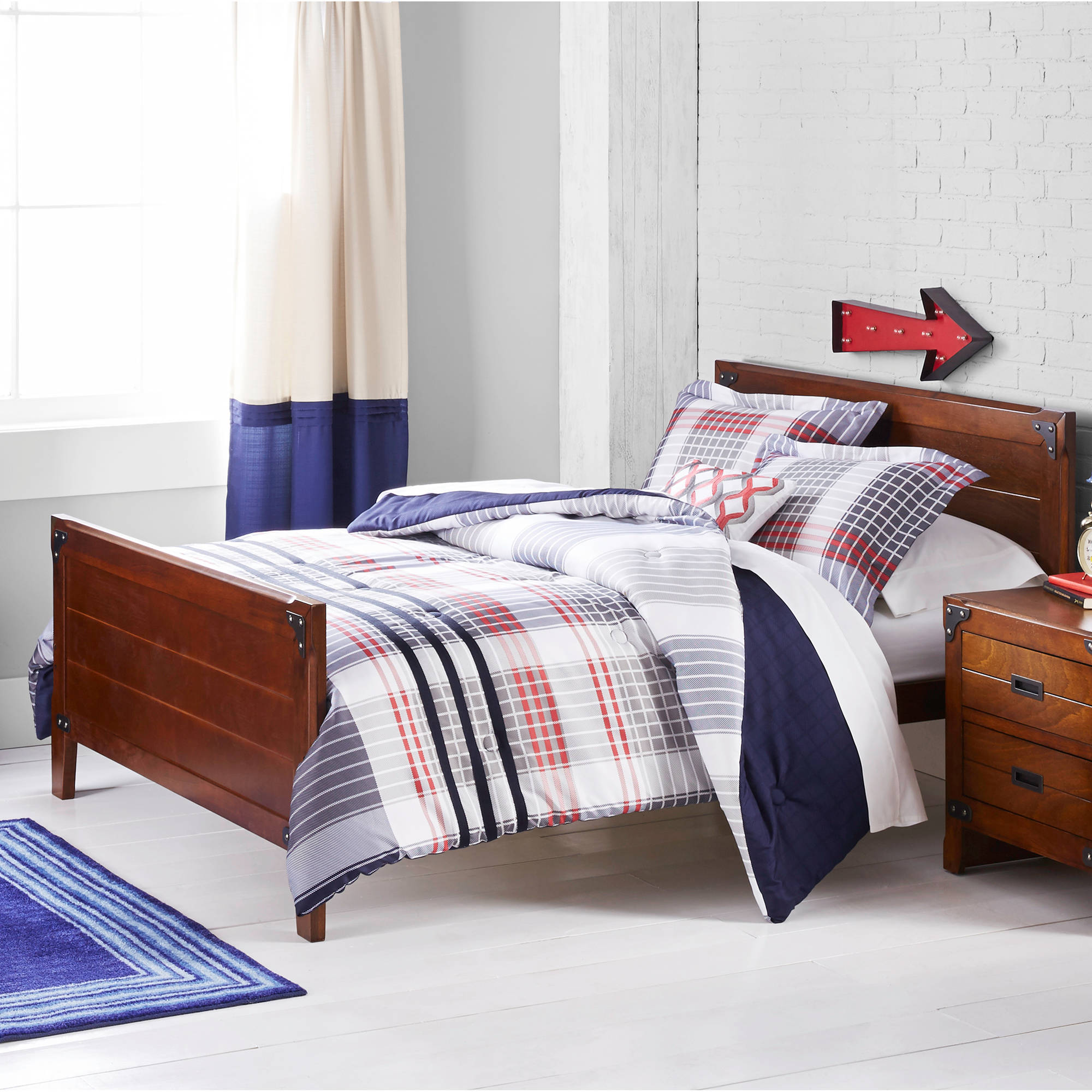 Better Homes and Gardens Kids Navy Plaid Bedding Comforter Set