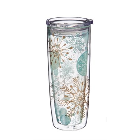 Double Wall Glass Tumbler w/ metallic accents and Box, 16 OZ., Snowflakes](Snowflake Glass)