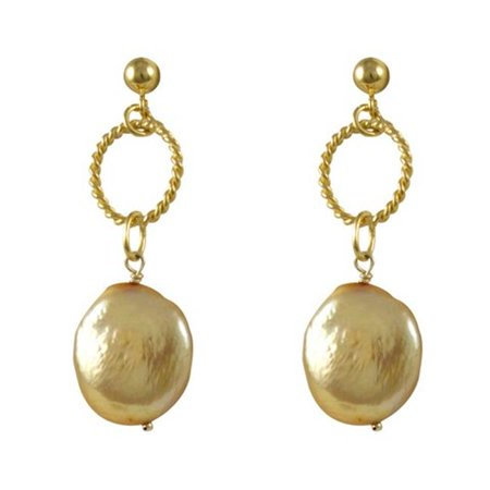 Dlux Jewels Gold Plated Champagne Pearl Earrings - image 1 of 1