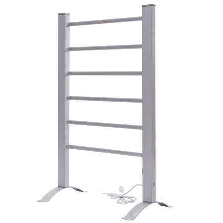 GHP Home Wall Mounted/Freestanding 6 Bars Aluminum Heated Bathroom Towel Rail Rack