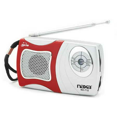 Naxa NX-712 AM-FM Mini Pocket Radio with Built-in Speaker- Red - image 1 of 1