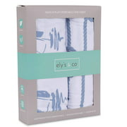 Pack N Play Portable Crib Sheet Set 100% Jersey Cotton 2 Pack - Blue Nautical Print