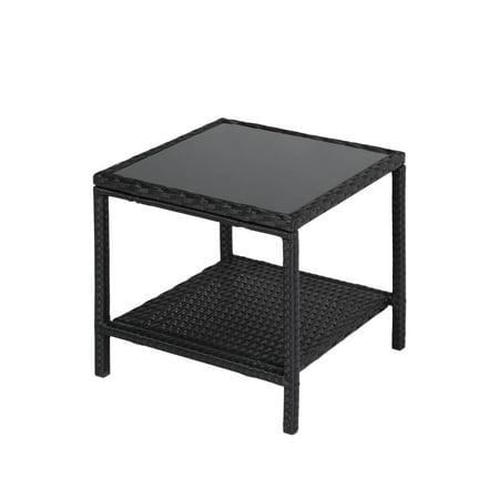 Kinbor 2 Tire Storage Patio Wicker Rattan Square Side Table Glass Top