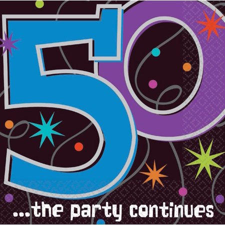 Amscan BB103472 The Party Continues 50Th Birthday Napkins - 50th Birthday Napkins Personalized
