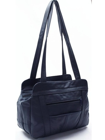 AFONiE  3 Compartment Leather Hobo Bag - 13 x 5 x 10