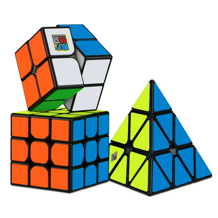 3Pcs Speed Cube Set, All Black Base Puzzles Magic Cube Set of 2x2x2 3x3x3 Pyramid Smooth Puzzle Cube