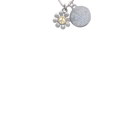 Peace Necklace (Two-tone Small Daisy with Peace Sign Stronger Braver Smarter Engraved Necklace )