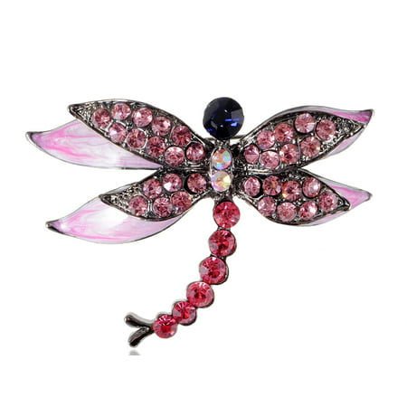 Rose Pink Pearlescent Enamel Crystal Rhinestone Dragonfly Fashion Brooch Pin