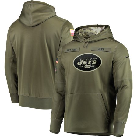 New York Jets Nike Salute to Service Sideline Therma Performance Pullover Hoodie - Olive - S ()