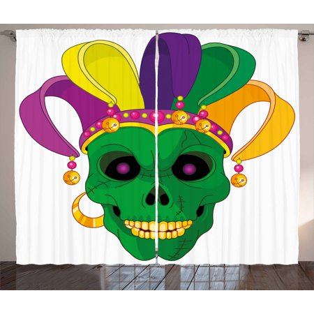 Scary Carnival (Mardi Gras Curtains 2 Panels Set, Scary Looking Green Skull Mask with Carnival Hat Beads and Earring Cartoon Style, Window Drapes for Living Room Bedroom, 108W X 84L Inches, Multicolor,)