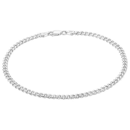 3.5mm Real 925 Sterling Silver Italian Crafted Beveled Cuban Curb Chain Bracelet, 8 inches 925 Silver Teardrop Bracelet