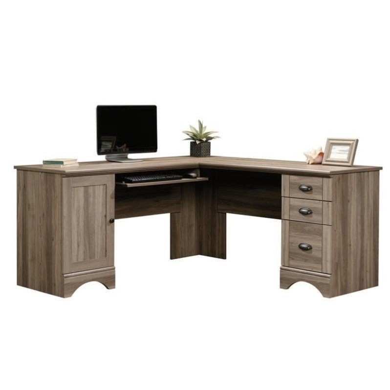 Sauder Harbor View L Shaped Oak Computer Desk