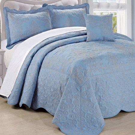 Serenta Damask Embroidered 4 Piece Quilt Set](Pink Damask)