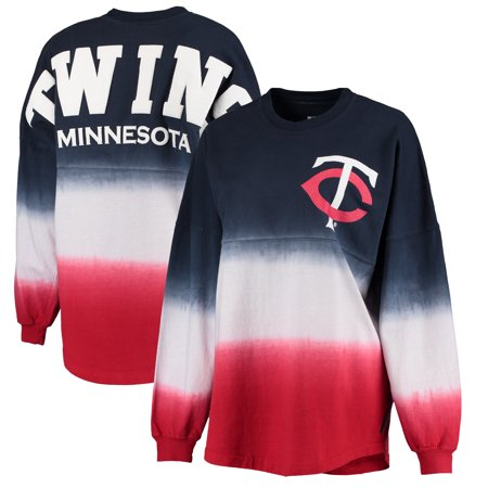 Minnesota Twins Women's Oversized Long Sleeve Ombre Spirit Jersey T-Shirt - - Minnesota Twins World Series Champions